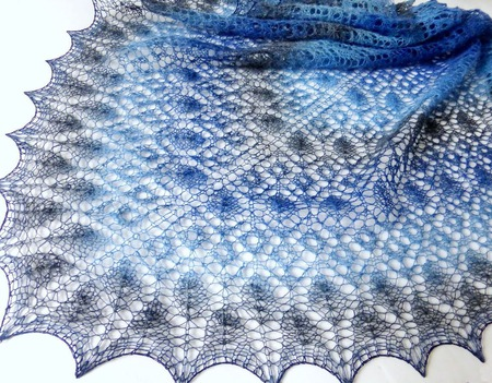 Ажурная вязаная шаль Роза Прерий Шаль шерстяная из Кауни ручной работы на заказ
