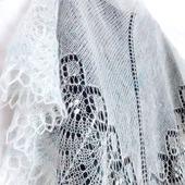 Ажурная шаль вязаная пуховая Свадебная, белая мохеровая шаль спицами