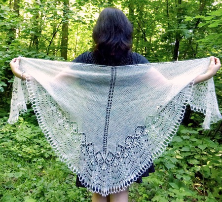 Ажурная шаль вязаная пуховая Свадебная, белая мохеровая шаль спицами ручной работы на заказ