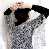 Ажурная шаль вязаная Первоцвет Шаль спицами