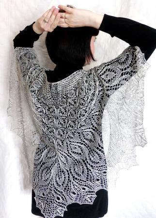 Ажурная шаль вязаная Первоцвет Шаль спицами ручной работы на заказ