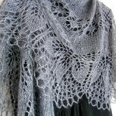 Ажурная шаль вязаная пуховая Туманный Ноябрь, шаль спицами