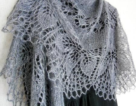 Ажурная шаль вязаная пуховая Туманный Ноябрь, шаль спицами ручной работы на заказ