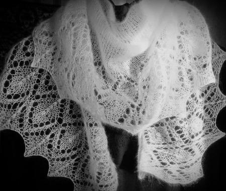"""Фишю ажурный шарфик """" сНежность """" (шаль, мини шаль, шарф вязаный) ручной работы на заказ"""