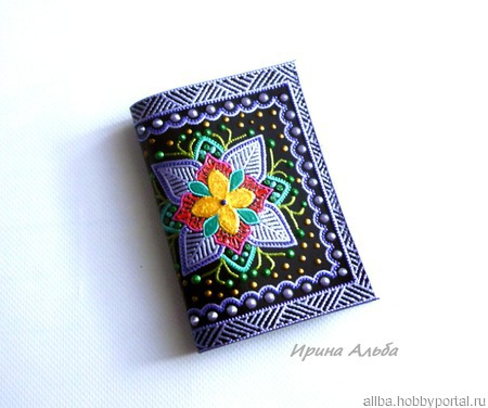 "Обложка на паспорт ""Сиреневый цветок"" ручной работы на заказ"