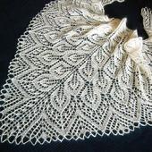 Ажурная свадебная пуховая шаль Айвори