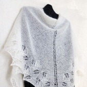 Ажурная белая шаль Пуховый бактус Первый снег Вязаная спицами шаль