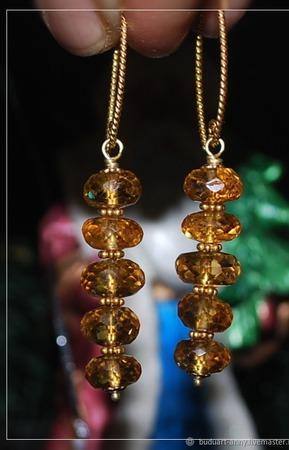 """Позолоченные серьги с цитрином """"Золотое солнце"""" ручной работы на заказ"""