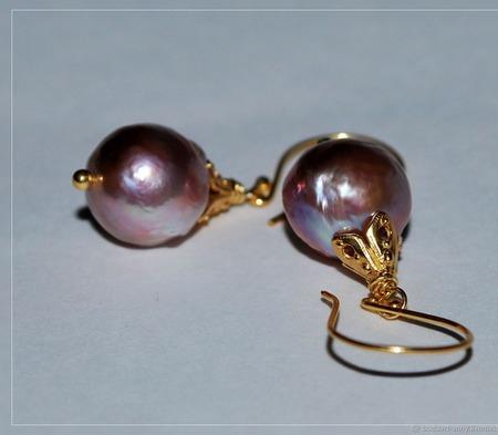 """Позолоченные серьги с жемчугом """"Золотые шары"""" ручной работы на заказ"""