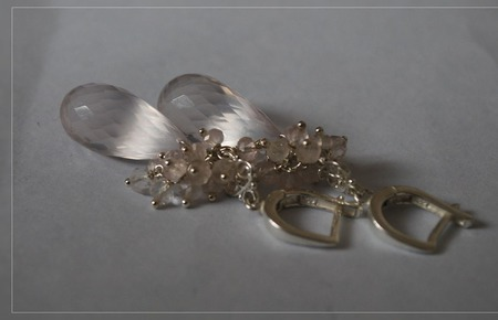 """Серебряные серьги с розовым кварцем """"Розовый лед"""" ручной работы на заказ"""