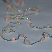 """Серебряная цепочка с благородным опалом """"Розовые звезды"""""""