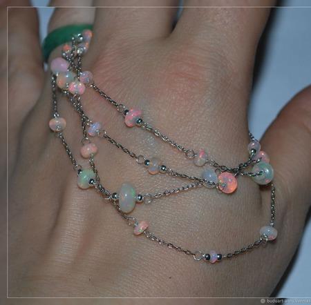 """Серебряная цепочка с благородным опалом """"Розовые звезды"""" ручной работы на заказ"""