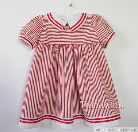 """Платье для девочки """"Морское"""" (красная и белая полоска) ручной работы на заказ"""