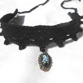 Бархотка с кулоном черная украшение на шею