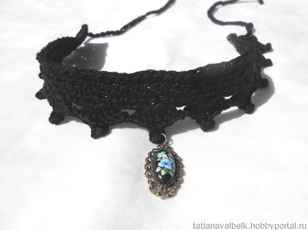 Бархотка с кулоном черная украшение на шею ручной работы на заказ