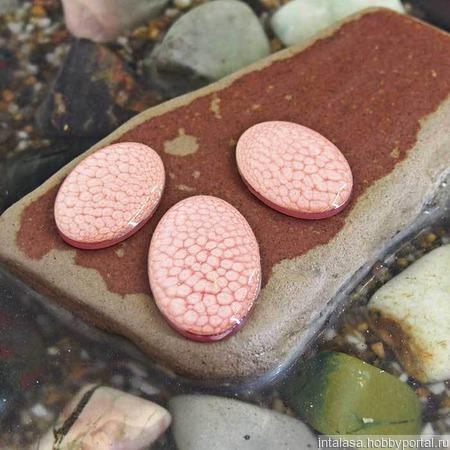 Комплект кабошонов. Цвет - Нежный розовый. Форма - овал ручной работы на заказ