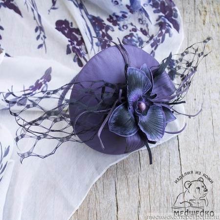 """Вуалетка из кожи """"Черная Орхидея"""" ручной работы на заказ"""