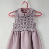 Комбинированное платье для девочки пепельно-сиреневое