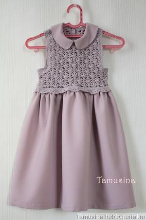 Комбинированное платье для девочки пепельно-сиреневое ручной работы на заказ