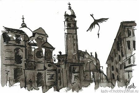"""Триптих """"Метаформозы Венеции"""" ручной работы на заказ"""