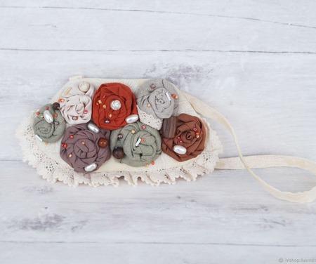 Текстильное колье в стиле бохо ручной работы на заказ