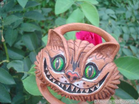"""Зажим для платка, волшебная пуговица, брошь, пряжка """"Чеширский кот"""" ручной работы на заказ"""
