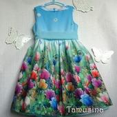 """Платье для девочки """"Розы в бирюзе"""""""