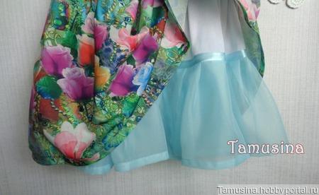 """Платье для девочки """"Розы в бирюзе"""" ручной работы на заказ"""