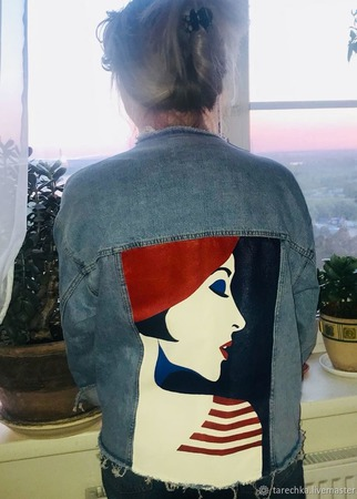 """Куртка с ручной росписью """"Француженка"""" ручной работы на заказ"""