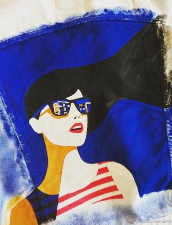 Ручная роспись по джинсовой куртке ручной работы на заказ
