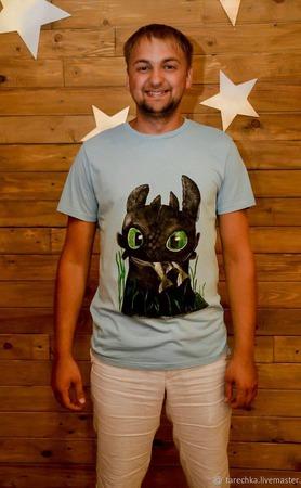Мужская футболка ручная роспись ручной работы на заказ