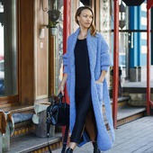 Длинный вязаный кардиган - пальто ручной вязки