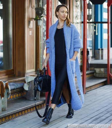 Длинный вязаный кардиган - пальто ручной вязки ручной работы на заказ