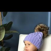 Комплект вязаный детский шапка с помпоном/варежки Y-Z KNITS