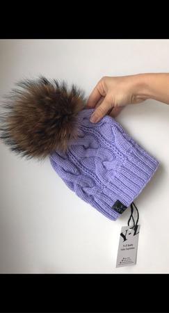 Комплект вязаный детский шапка с помпоном/варежки Y-Z KNITS ручной работы на заказ