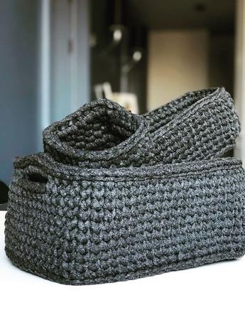 Набор корзин  из трикотажной нити 100% хлопок ручной работы на заказ