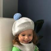 Комплект вязаный детский берет с помпоном/снуд Y-Z KNITS