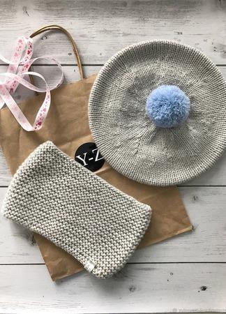 Комплект вязаный детский берет с помпоном/снуд Y-Z KNITS ручной работы на заказ
