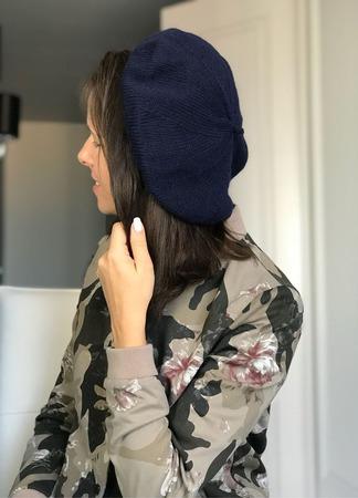 Берет женский вязаный из норки/кашемира Y-Z KNITS ручной работы на заказ