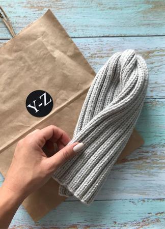 Шапка вязаная удлиненная бини Y-Z KNITS ручной работы на заказ