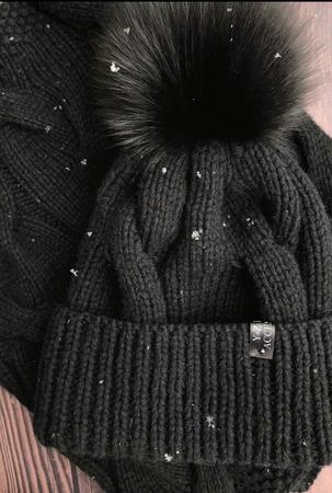 Шапка вязаная женская с меховым помпоном песец кашемир/пух норки ручной работы на заказ