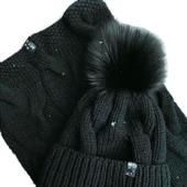 Комплект вязаный шапка и снуд из пуха норки/козьего пуха/кашемира Y-Z