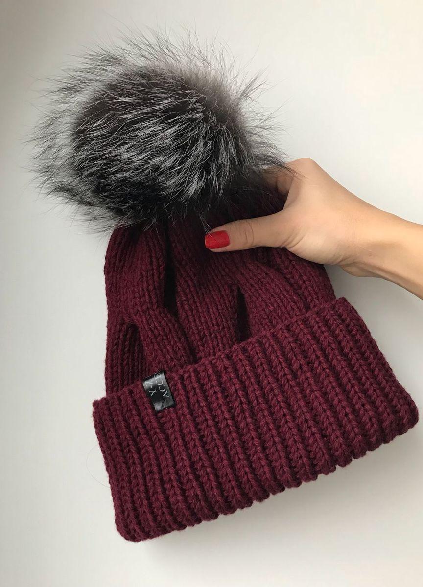 шапка женская вязаная с меховым помпоном кашемирнорка Y Z Knits