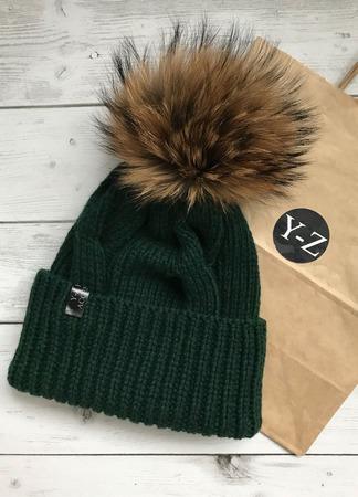 Комплект вязаный женский шапка с мех помпоном и снуд кашемир/норка ручной работы на заказ