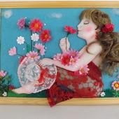 "Панно ""Девушка с цветами"""