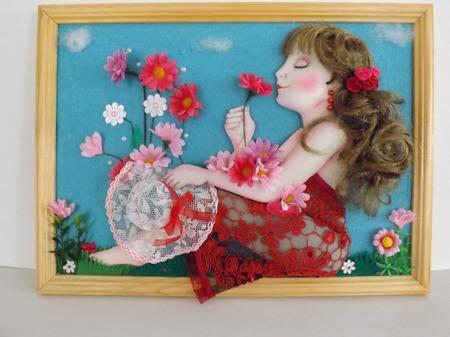 """Панно """"Девушка с цветами"""" ручной работы на заказ"""
