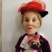 Графиня с мопсом - интерьерная кукла
