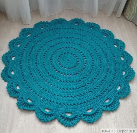 Круглый коврик цвета морской волны ручной работы на заказ