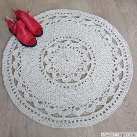 Круглый коврик из хлопкового шнура ручной работы на заказ