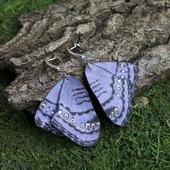 "Серьги бабочки из кожи ""Grey Pansy"""